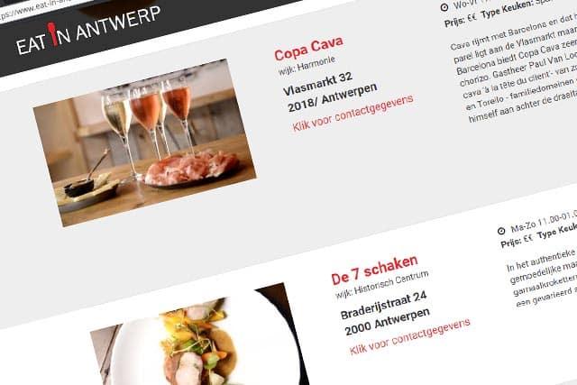 Uw site op Eat in Antwerp